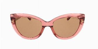 Tom Ford FT0762 42E Shiny Trans Drk Pink / Pale Brwn Rose Lenses 55